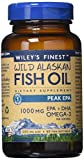 Wiley's Finest Peak EPA 1000mg EPA + DHA Omega-3 Per Softgel – High Potency Wild Alaskan Fish Oil IFOS Certified Fish Gelatin Capsules 60 Count
