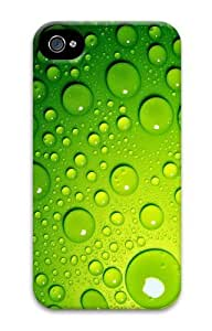 Green Water Droplets Polycarbonate Hard Case Cover for iPhone 4/4S 3D