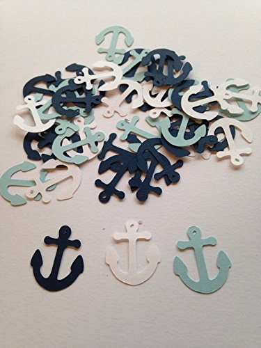 100 Light Blue White Navy Anchor Confetti, Nautical Baby Shower, Nautical Theme, Nautical Confetti, Anchor Decor, Nautical Wedding, Nautical Birthday