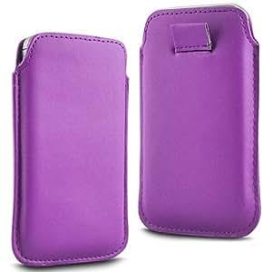 Direct-2-Your-Door - Sony Xperia E3 premium suave cuero de la PU del caso del tirón bolsa de la cubierta ficha de extracción - luz púrpura