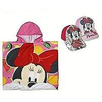 Pack: Poncho Toalla (60x120cm) Más 2 Gorras Ajustables. Diseño Minnie Mouse (Disney)