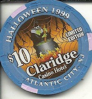 ($10 claridge 1999 halloween witch obsolete casino chip atlantic city new)