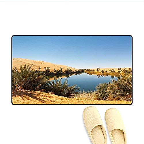 Sahara Small Rug - Bath Mat Idyllic Oasis Awbari Sand Sea Sahara Libya Pond Lush Arid Country Door Mat Small Rug Light Blue Green Sand Brown 16