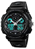 Mens Shock Outdoor Sports Led Digital Watch Dual Time Display Chrono Black Resin Watch 50M Waterproof