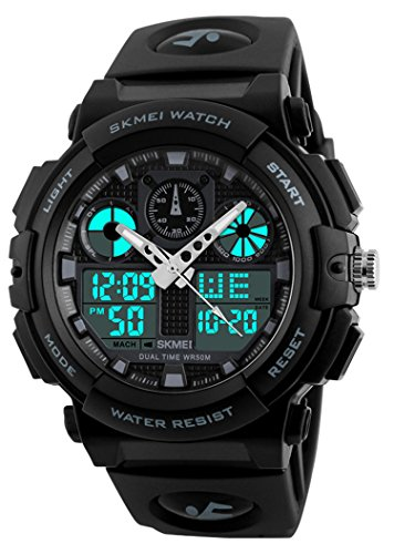 Mens Shock Outdoor Sports Led Digital Watch Dual Time Display Chrono Black Resin Watch 50M Waterproof (Black)