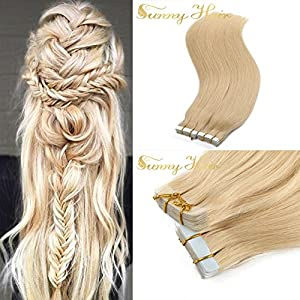 Sunny 100% Remy Tape-in Human Hair Extensions Grade 6A Double Side Tape Seamless Skin Weft Natural Hair Extensions Long Soft Straight Silky (14 inch 50g ,#613 Bleach Blonde)