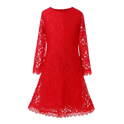 Flower Lace Girls Lemonkid Illusion with Red Dresses Sleeves Princess Dress 516nwna