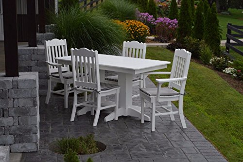 A&L Furniture Amish-Made Poly Outdoor Dining Set: Rectangular Table and 4 Royal Chairs, Black