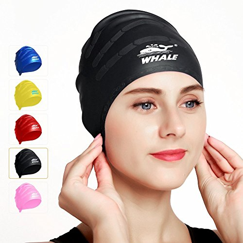 Whale Black Cover Ears Swim Caps for Adult Women Men Girl Youth Long Hair,Flexible and Ear Waterproof,100% Silicone Breathable Swim Cap Makes Your Hair - Women Caps Swim For