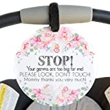 (Three Little Tots) Flower Tag - Stop, Your Germs are Too Big for Me, Please Look Don't Touch (Girl Preemie Sign, Newborn, Baby Car Seat Tag, Stroller Tag, Baby Preemie No Touching Car Seat Sign)