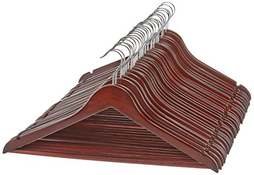 AmazonBasics Solid Wood Suit Clothes Hangers, Cherry, 30 Pack