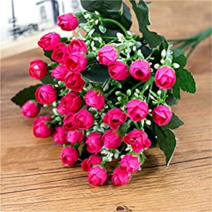 JIAHUADE 1 Bouquet 36 Head Small Bud Artificial Rose Petals Flowers Silk Decorative Flowers Home Decorations for Wedding Valentine's Day 25