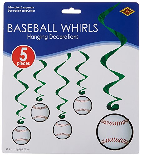 Baseball Whirls   (5/Pkg) (Baseball Party Supplies)