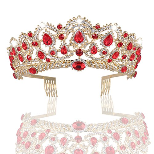 MACOIOR Crowns Tiaras for Women, Baroque Royal Prom Queen Crown Rhinestone Crystal Bridal Crowns Tiaras with Comb Pageant Crowns Princess Crown -