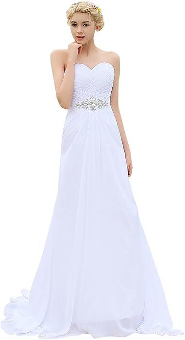 ddbafd301bc5d YIPEISHA Women s Strapless Lace-up Bridal Beach Chiffon Wedding Dress US 2  Ivory at Amazon Women s Clothing store