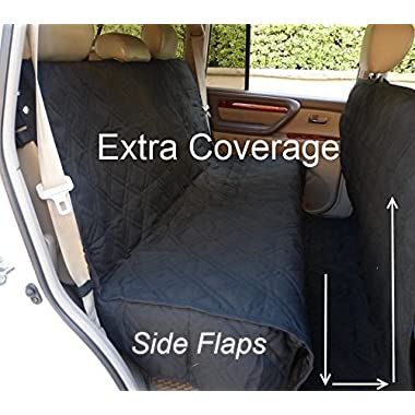 Deluxe Quilted and Padded seat cover with Non-Slip Fabric in Seat Area for Pets - One Size Fits All 56 Wx94 L Black