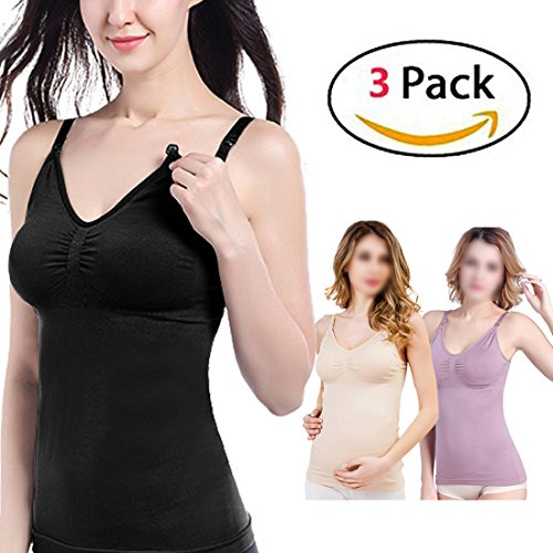 Amazing Speed 3PCS Women's Nursing Cami Maternity Breastfeeding Tank Tops(Black+Purple+Beige, L) (Double Opening Nursing Cami)