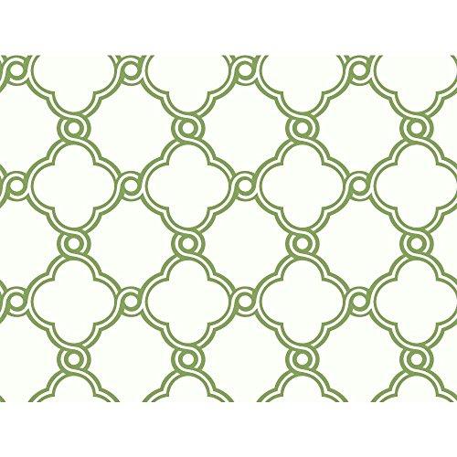 York Wallcoverings AP7484 Silhouettes Fretwork Trellis Wallpaper, Green/White by York Wallcoverings