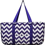 N. Gil All Purpose Open Top 23'' Classic Extra Large Utility Tote Bag 2017 Spring Collection (Chevron Purple)