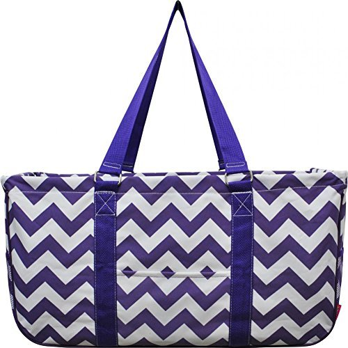 N. Gil All Purpose Open Top 23'' Classic Extra Large Utility Tote Bag 2017 Spring Collection (Chevron Purple) by N.Gil