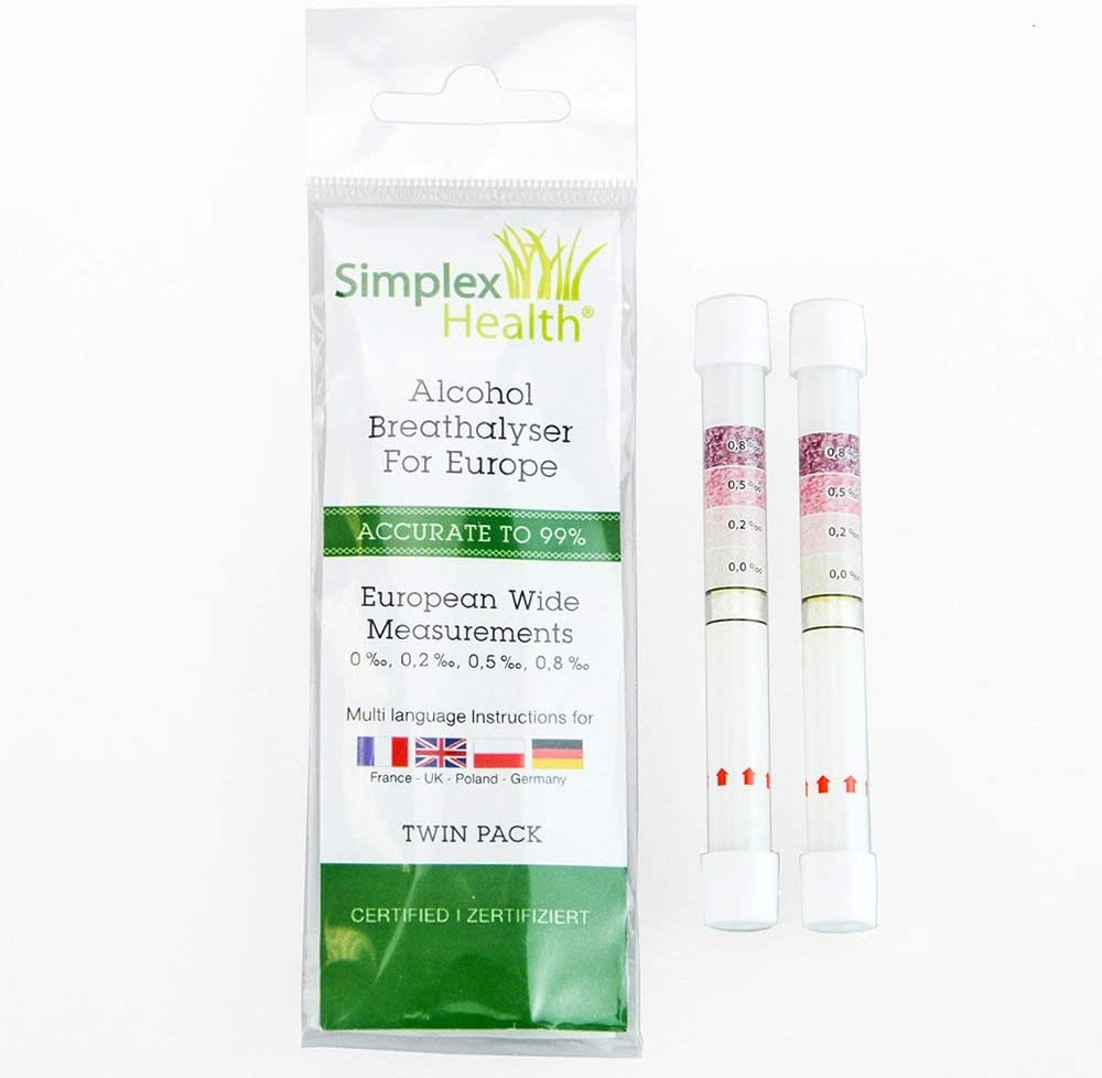 Germany with European Wide Measurements SimplexHealth 10 x Twin Pack of Breathalyzer Test Kits for France UK