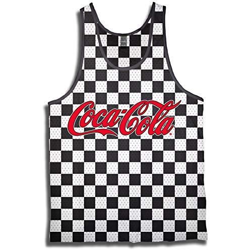 Mens Coca Cola Tank - Have a Coke and a Smile Jersey - Coke Soda Classic Tanktop (Checker, X-Large) ()