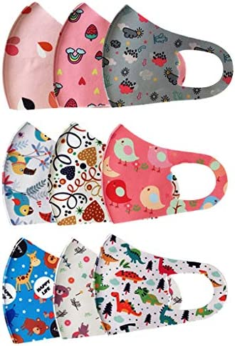 12 PCS Kids Reusable Washable Face CoveringEar Straps Cotton Fabric Face Health Protections Fits Toddlers to Teens