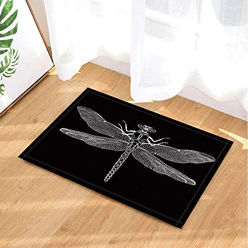 Insect Specimen Decor Bath Rug Creativity Black and White Dragonfly Non-Slip Doormat Indoor Rugs 23.6X15.7IN