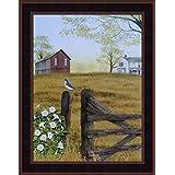 Morning's Glory by Billy Jacobs 15x19 Bluebird Bird Fencepost Gate Barn Farm Flowers Framed Folk Art Wall Décor Picture