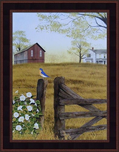 Morning's Glory by Billy Jacobs 15x19 Bluebird Bird Fencepost Gate Barn Farm Flowers Framed Folk Art Wall Décor (Folk Art Farm)