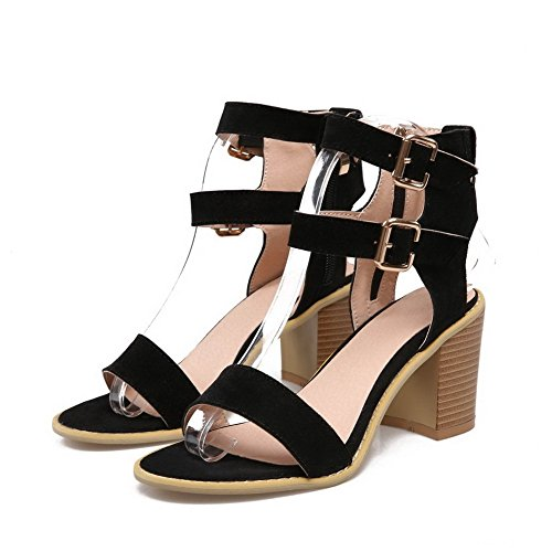 Adee Ladies Ankle-Cuff Dance-Character Frosted Sandals Black x9tPH