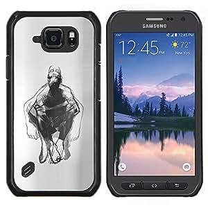 Dibujo Hombre Body Art Lápiz- Metal de aluminio y de plástico duro Caja del teléfono - Negro - Samsung Galaxy S6 active / SM-G890 (NOT S6)