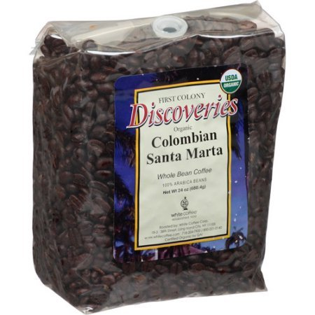 First Colony Discoveries Organic Colombian Santa Marta Whole Bean Coffee, 24 oz, (Pack of 4)