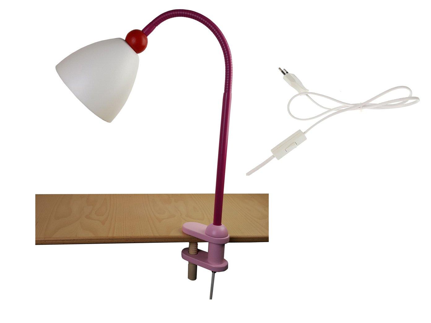 Biegsame LED Klammerleuchte, niedliche LED Leseleuchte für Mächen, LISA mit Schnurschalter + Flexrohr