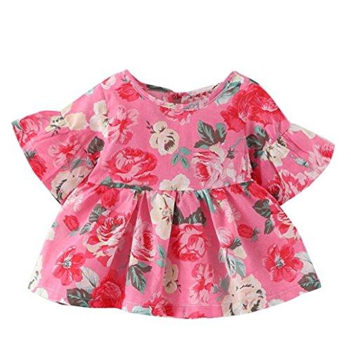 Tefamore Kleinkind Kinder Baby Mädchen Kurzarm Blume Kleidung Party Prinzessin Kleider Rosa