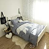 ManFan Single Child Home Fitted Bedding Set AB Solid Color Bed Protector Home Quilt Cover Blanket Set Protector School Dorm Cartoon Print - Polar Bear