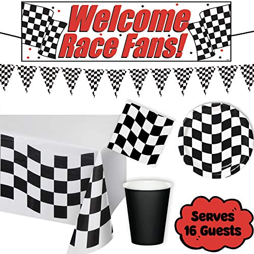 Luci Ray - Checkered Race Car Party Supplies Birthday Decorations Set for 16 GUESTS - plastic tablecloth, race banner, checkered pennant banner, plates, napkins, black cups -