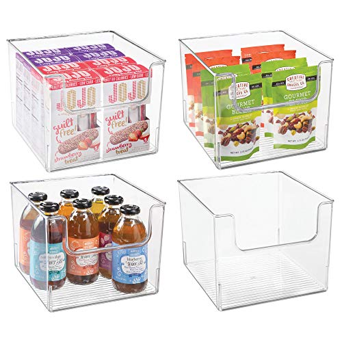 mDesign Plastic Open Front Food Storage Bins for Kitchen Cabinet, Pantry, Shelf – Organizer for Fruit, Potatoes, Onions, Drinks, Snacks, Pasta – Food Safe, BPA Free, 10″ Wide, 4 Pack – Clear