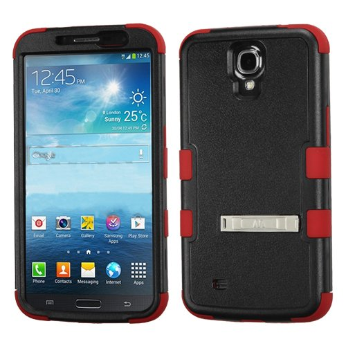 CYstore Dual Layer Tuff Armor Cover Case with Kick Stand For Samsung Galaxy Mega 6.3 / I9200 / I527 (Include a CYstore Stylus Pen) - Natural Black/Red