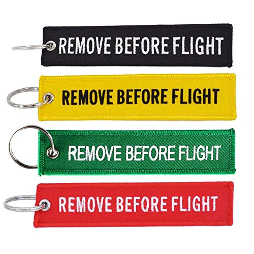JICHUIO Remove Before Flight Key Chain Embroidery Key Ring Key Finder for Car Door Key