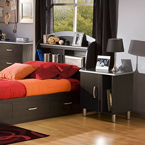 South Shore Cosmos Kids Bookcase Black Headboard 2 Piece Bedroom Set - South Shore Cosmos Bookcase