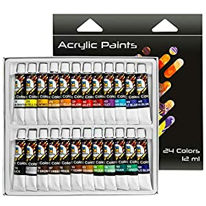 Acrylic Paint Set/Craft Paint - Acrylic Paint Kit - No Drying Out, Non Toxic Wood Paint - 24 Vivid Colors Canvas Set - Acrylic Paint Palette for Beginners, Kids and Adults (12ML Easy Squeeze Tubes)