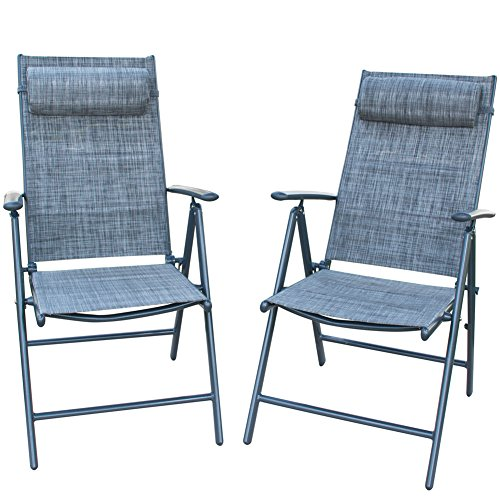 PatioPost Folding Chairs Adjustable Outdoor Recliner Patio 2 Persons Textilene Poolside Garden Lounge Chairs, Grey