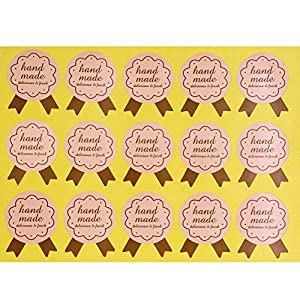 Hand Made Badge Stickers for Home Baking Gift Packaging, Brown Color, Pack of 150