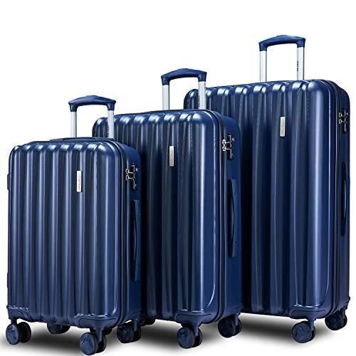 Flieks Luggage Set 3 Piece with TSA Lock Light Weight Hardside Spinner Suitcase