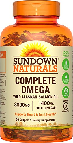 Sundown Naturals Complete Omega Wild Alaskan Salmon Oil Softgel, 1400 mg, 90 Count