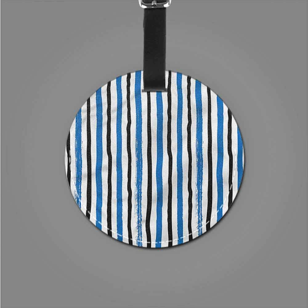 Men Luggage Tag Abstract,Straight Vertical Lines Portable Label