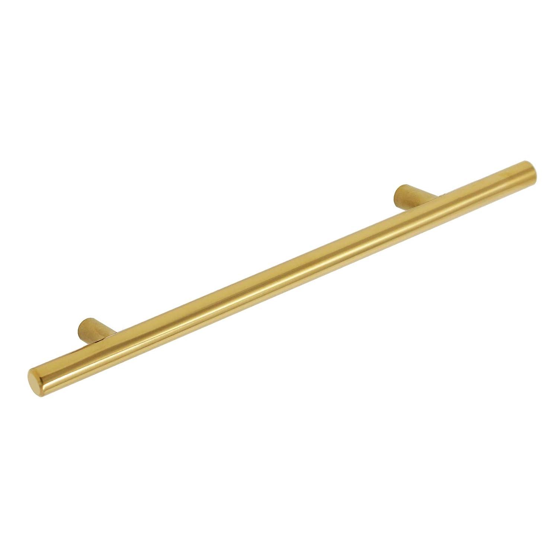 Hole Centers T Bar Drawer Pull Handle Knob for Furniture Dresser Hardware-30Pack 10 Gobrico Brushed Brass 256mm