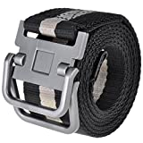 Ayliss Men's Soft Nylon Canvas Belt Double D-Rings Zinc Alloy Buckle Waistbelt (Black Stripe)