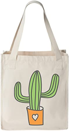 Cactus in a tin can Bag unbleached cotton Tote Bag Pop Art